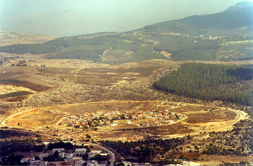 A kibbutz from a trail around the summit of Mount Meron in Galilee. The Middle East