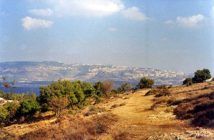 View of Sfat (Safed) from a trail descending from...Meron in Galilee. The Middle East