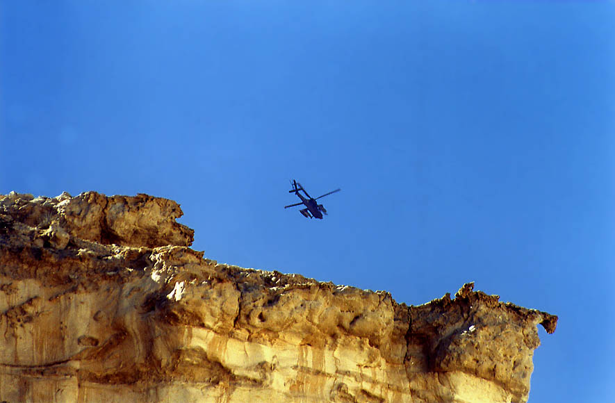 A helicopter loaded with bombs for Gaza Strip...miles east from Avdat. The Middle East