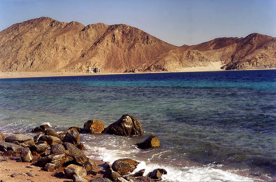 Red Sea of Gulf of Akaba in Sinai south from Marsa Murah fjord. Egypt