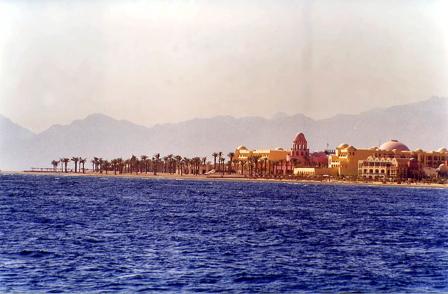 View of Gulf of Akaba in Sinai south from Marsa Murah fjord. Egypt
