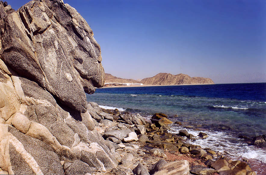 Seashore of Gulf of Akaba in Sinai near Marsa Murah fjord. Egypt