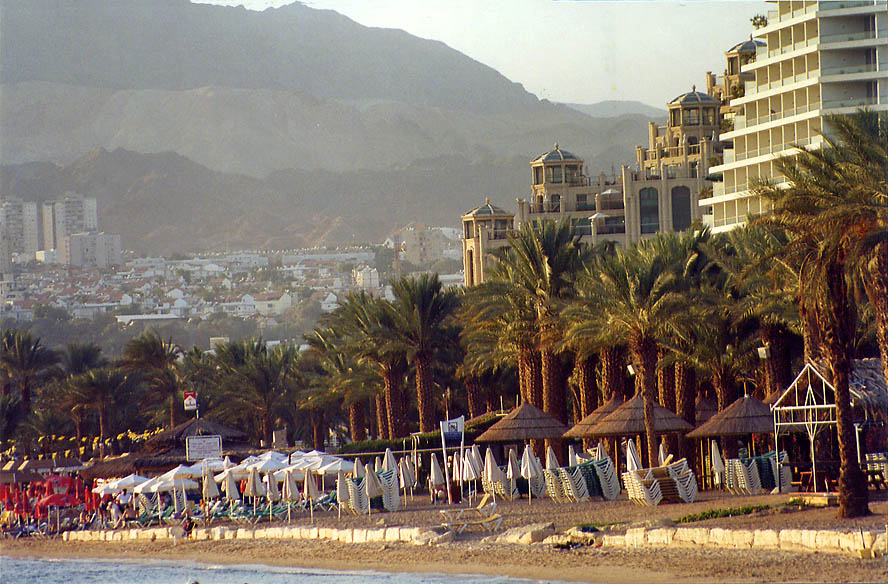 Eilat beach from sea promenade. The Middle East