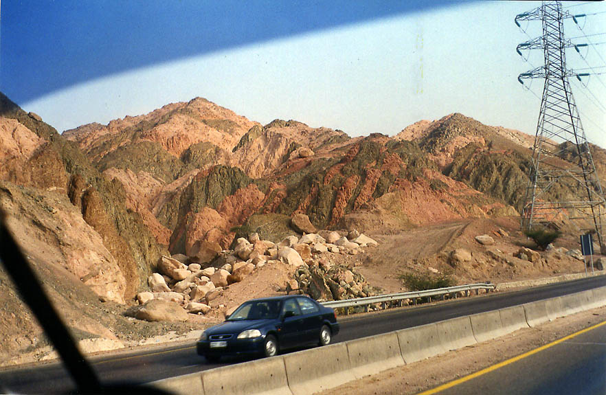 A road north from Akaba, view from a bus. Jordan