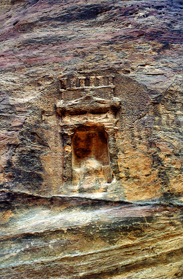 A niche for an idol in Siq wadi entering Petra. Jordan