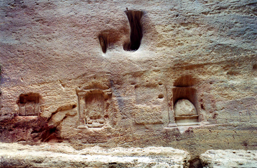 Three niches for idols in Siq wadi entering Petra. Jordan