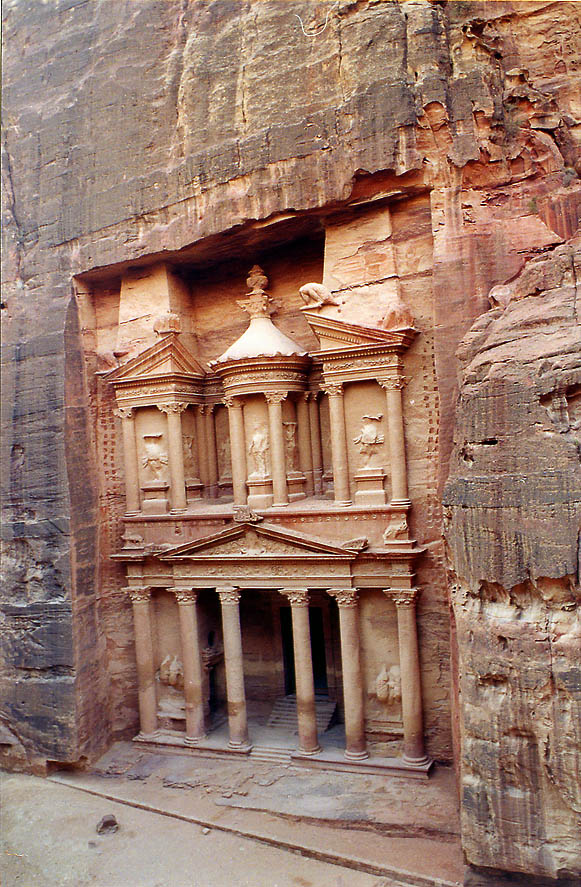 View of the Treasure tomb from an opposite cliff...by our Bedouin guide). Petra, Jordan
