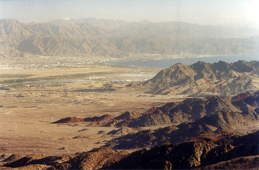 View of Arava Valley south-east from Mount Shehoret, north from Eilat. The Middle East