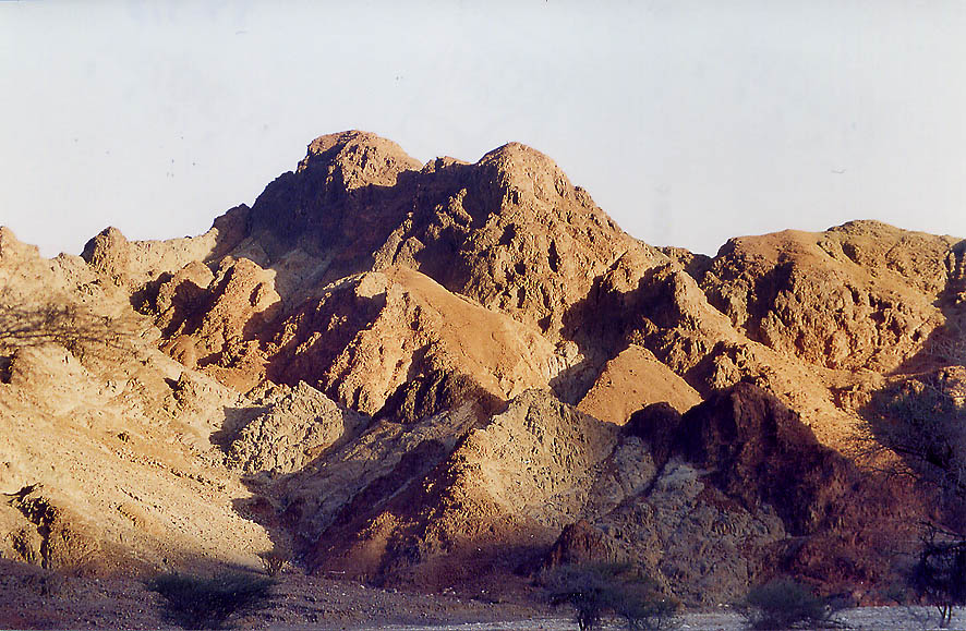 Shahmon Mountains near Eilat at evening, view from Wadi Roded. The Middle East