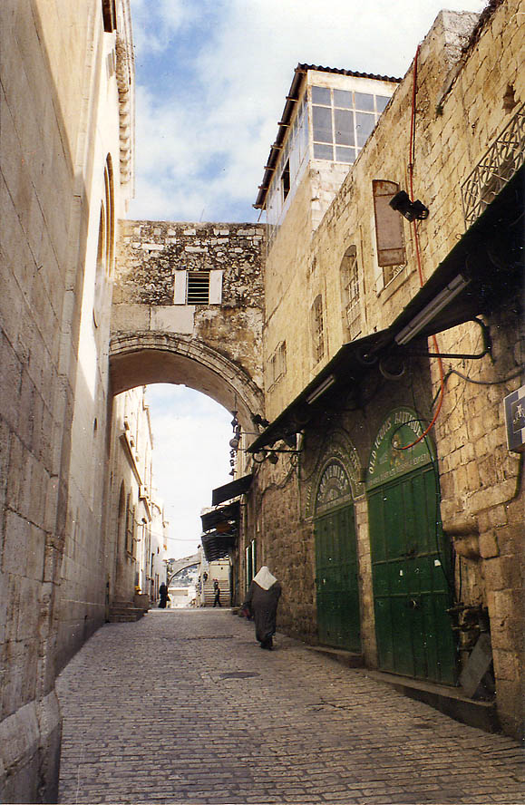 Via Dolorosa Rd. and Esse Homo Arch in Old City of Jerusalem. The Middle East