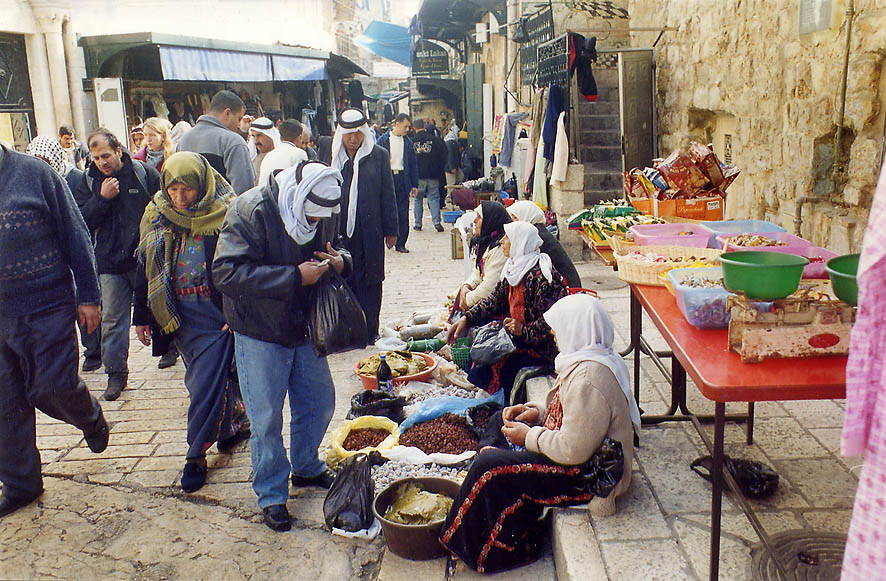 Moslems returning after a Friday worship on...Old City of Jerusalem. The Middle East