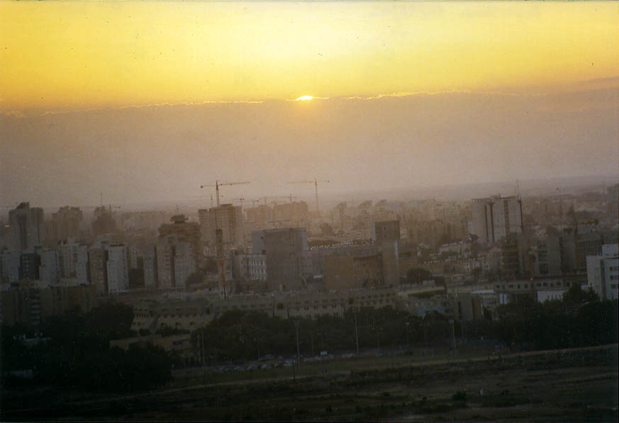 Beer-Sheva during sunset from Palmach Memorial hill. The Middle East
