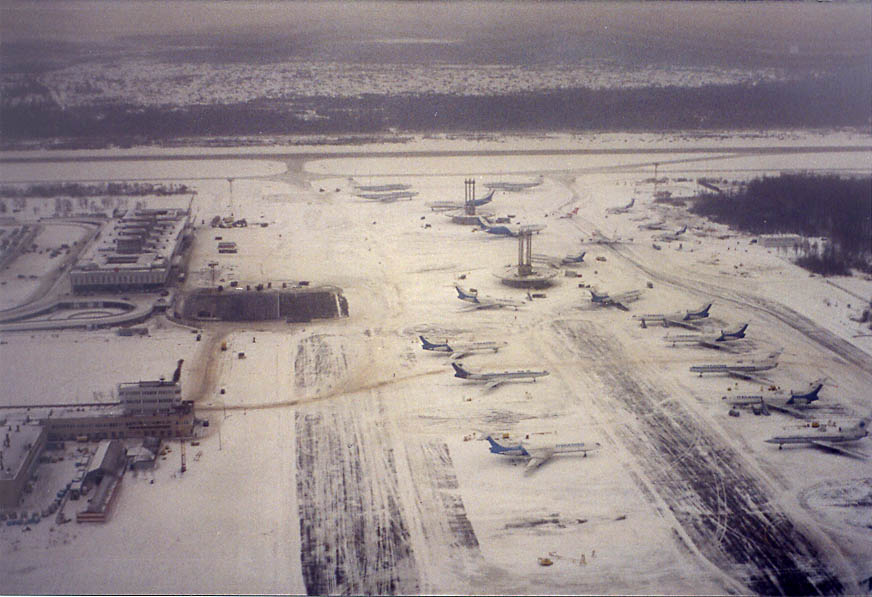 Pulkovo Airport in St.Petersburg from a plane to Helsinki. Russia