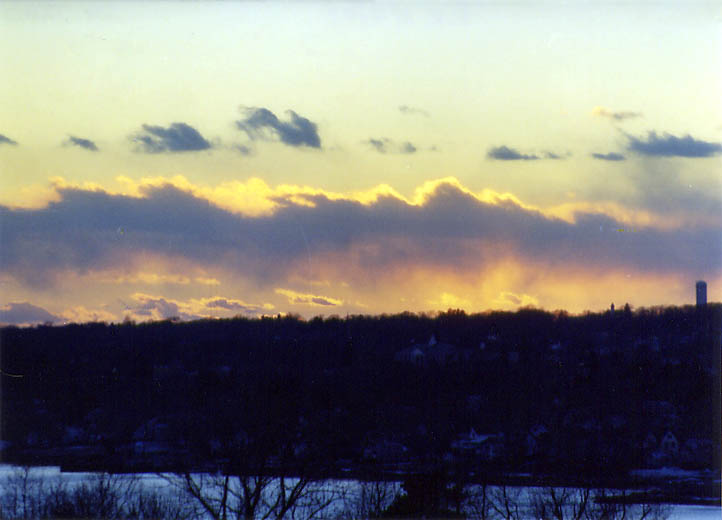 Sunset over Taunton River from an apartment in northern Fall River. Massachusetts