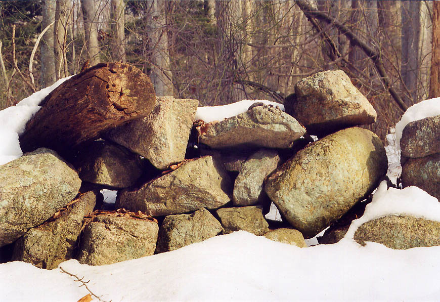 Abandoned stone wall at Tattapanum Trail in northern Fall River. Massachusetts