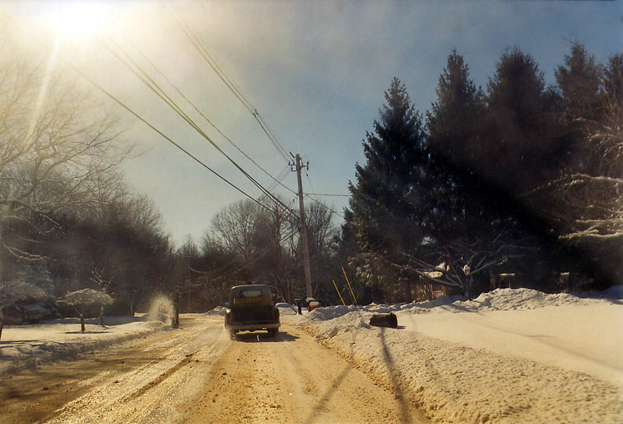 Old Westport Rd. next day after a snowstorm. Massachusetts