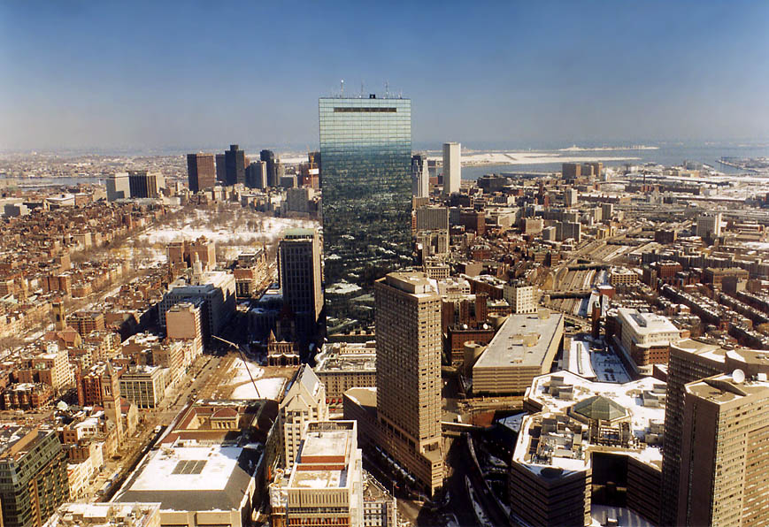 Hancock Tower and downtown Boston from Skywalk of Prudential Tower. Massachusetts