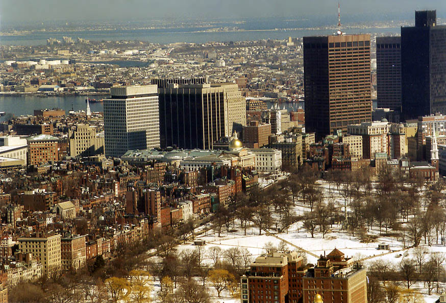 Beacon Hill and Boston Common from Skywalk of Prudential Tower. Massachusetts
