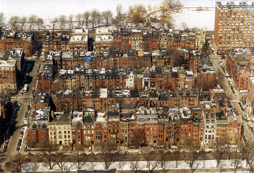 Back Bay in Boston from Skywalk of Prudential Tower. Massachusetts