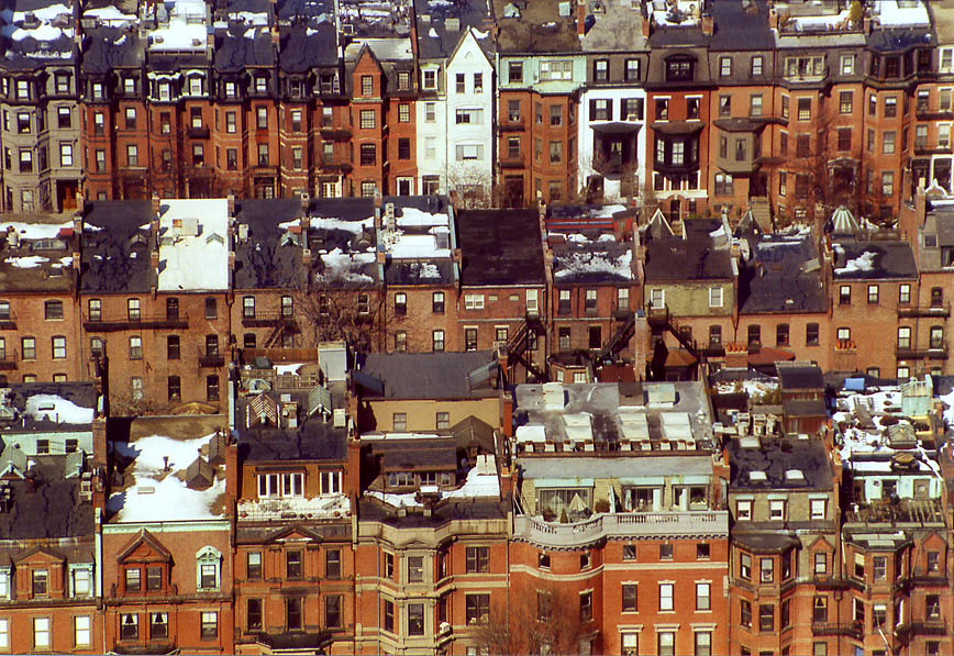 Houses of Back Bay in Boston from Skywalk of Prudential Tower. Massachusetts