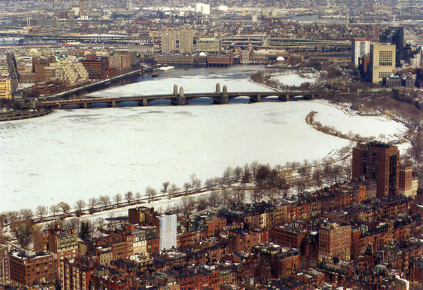 Charles River and Longfellow Bridge in Boston...of Prudential Tower. Massachusetts