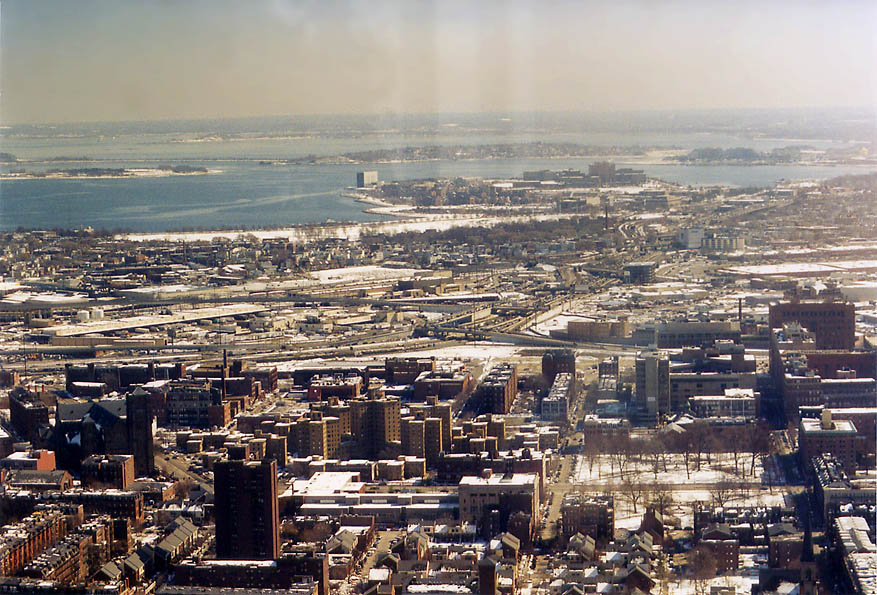 View south from Skywalk of Prudential Tower. Boston, Massachusetts