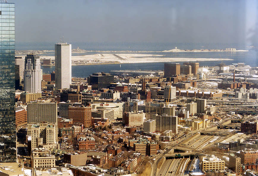 Southern downtown Boston and Logan Airport from Skywalk of Prudential Tower. Massachusetts
