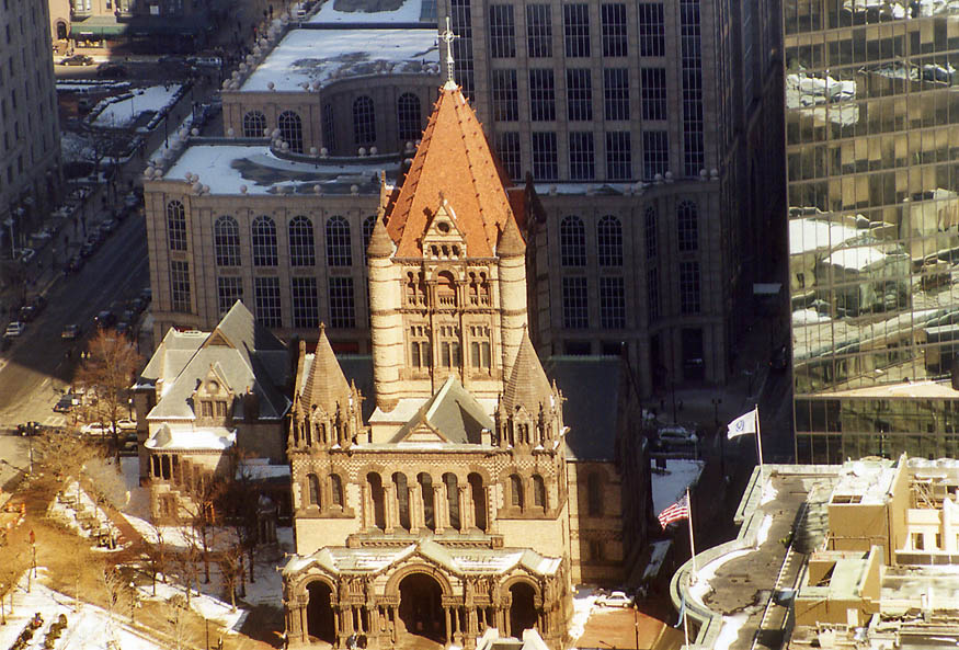 Trinity Church in Boston from Skywalk of Prudential Tower. Massachusetts
