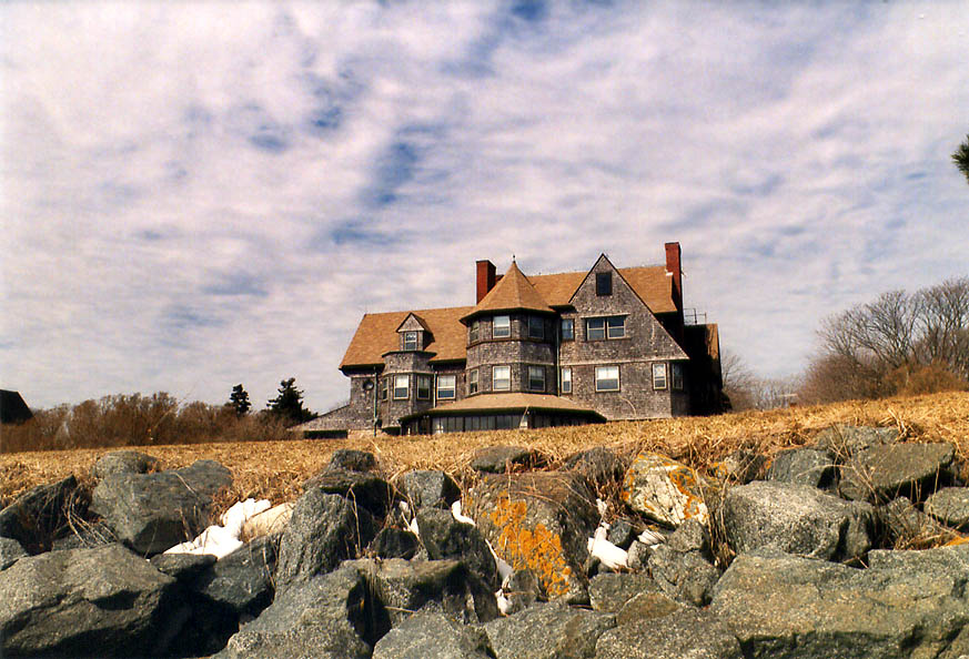 Midcliff Mansion at Ochre Point from Cliff Walk in Newport. Rhode Island
