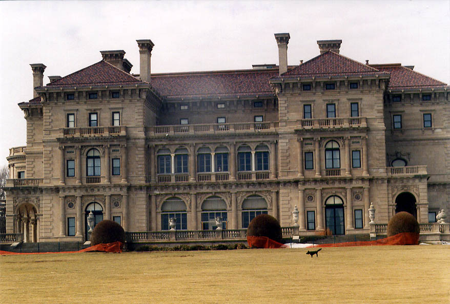 The Breakers Mansion from Cliff Walk in Newport. Rhode Island