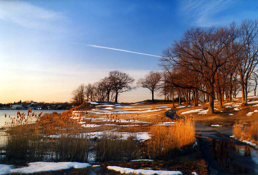 Taunton River and a golf course in northern Fall River at evening. Massachusetts