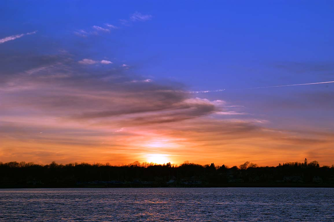 Sunset over Taunton River in northern Fall River, Massachusetts