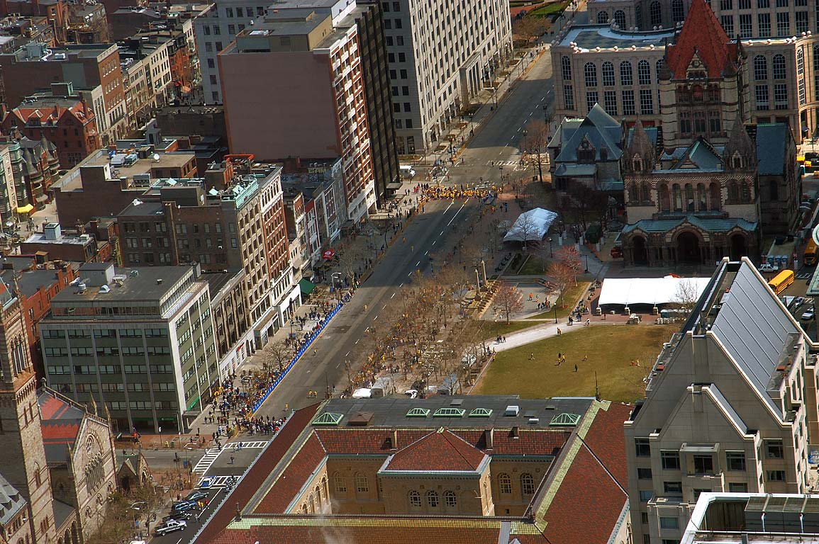 Marathon on Copley Square from observatory of Prudential Tower. Boston, Massachusetts