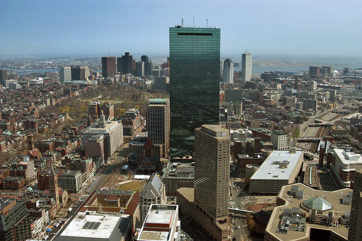 Hancock Tower and downtown from observatory of Prudential Tower. Boston, Massachusetts