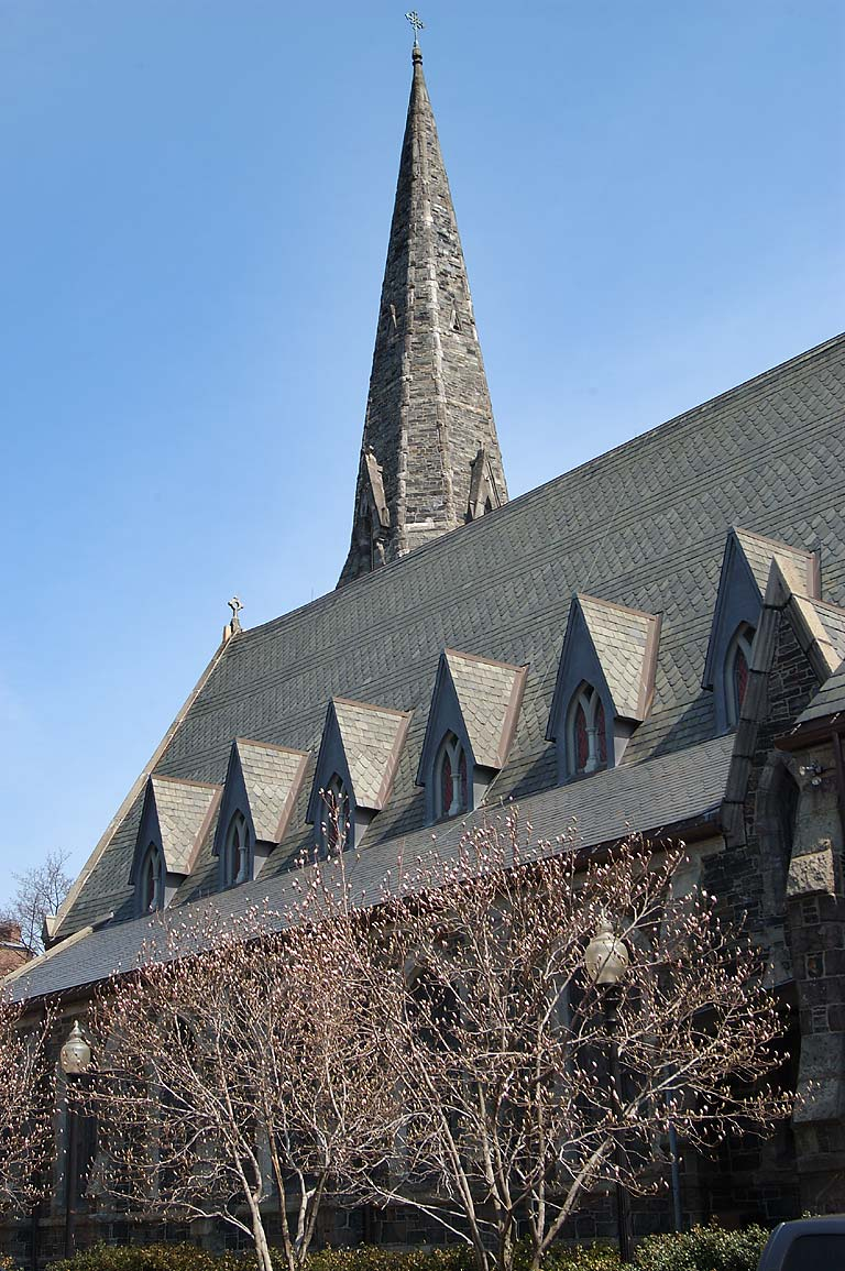 Old Cambridge Baptist Church from Massachusetts Ave.. Boston, Massachusetts