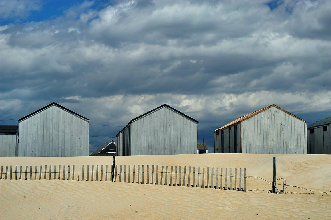 Cabins on Horseneck Beach. Westport, Massachusetts