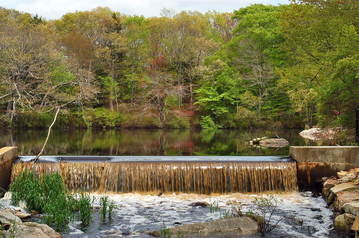 A dam on Paskamansett/Slocums River from Rock O...village. Dartmouth, Massachusetts