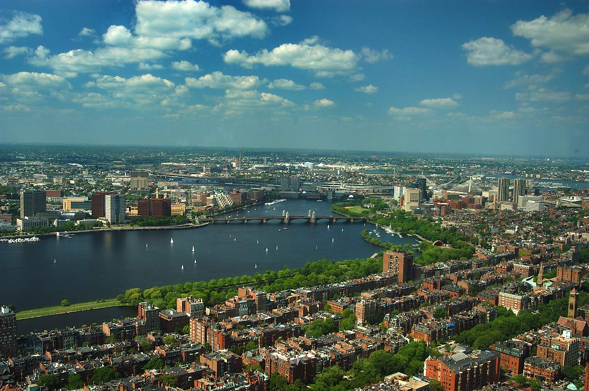 Charles River and Longfellow Bridge from Prudential Tower. Boston, Massachusetts
