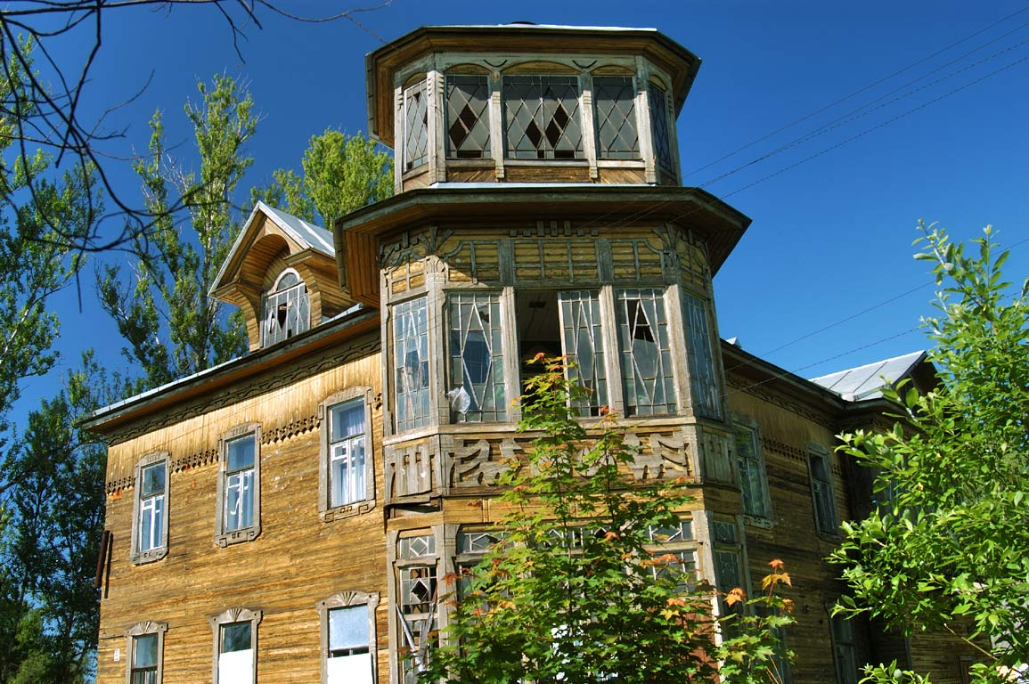 A wooden house near the train station in Sablino, south from St.Petersburg. Russia