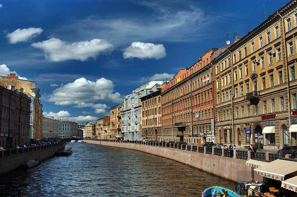 Moyka River from Nevsky Prospect. St.Petersburg, Russia
