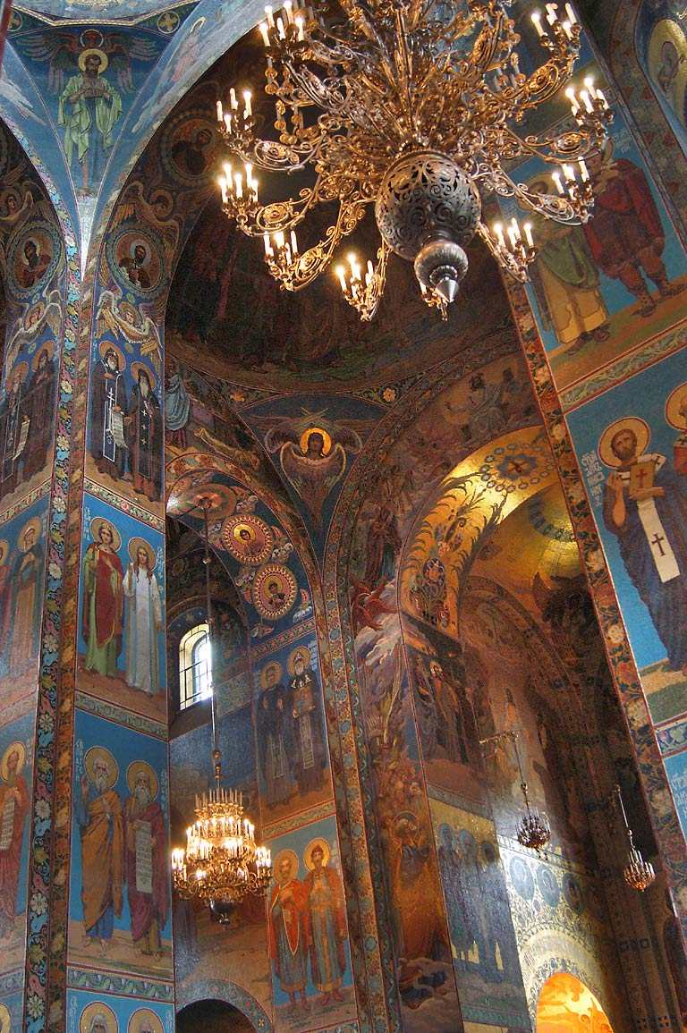 Mosaic interior of Church of Savior on Blood. St.Petersburg, Russia