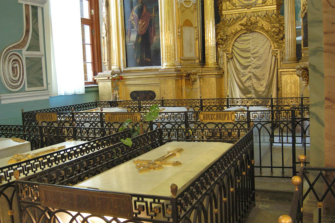 Graves of Russian tsars in Peter and Paul Cathedral. St.Petersburg, Russia