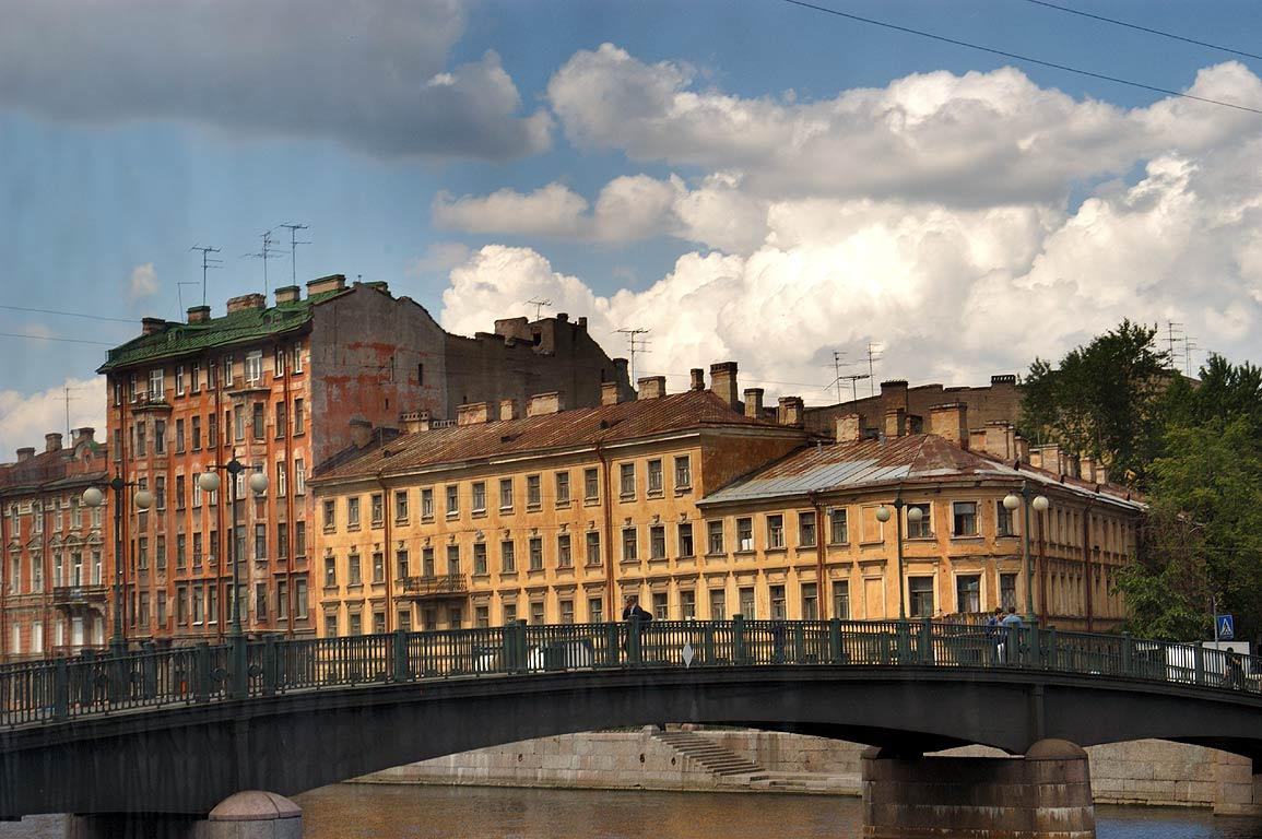 Fontanka River south from Nevsky Prospect from a...a tourist bus. St.Petersburg, Russia