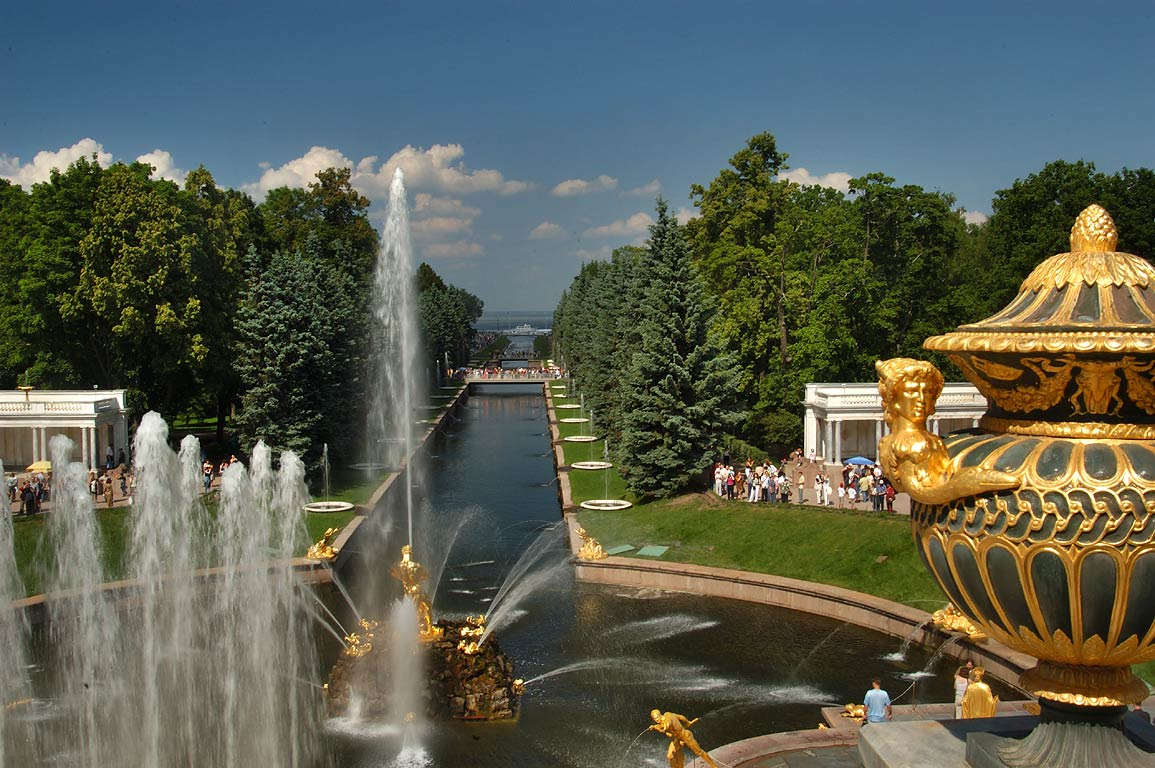 Grand cascade of peterhof from a terrace of grottos near saint