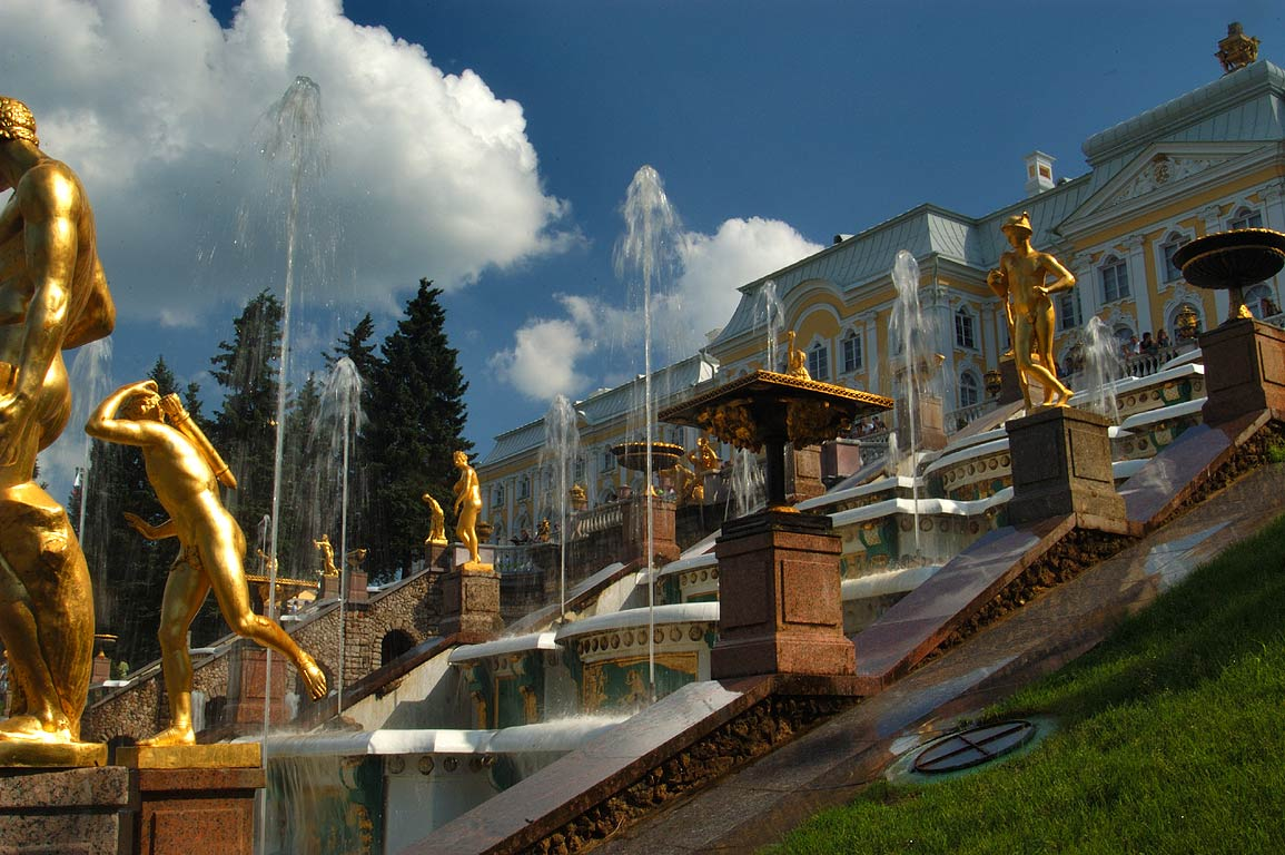 Grand Cascade of fountains in Peterhof, a suburb of St.Petersburg. Russia