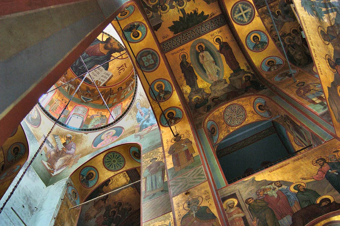 In Church of St.George. Yuriev Monastery, near Novgorod, Russia