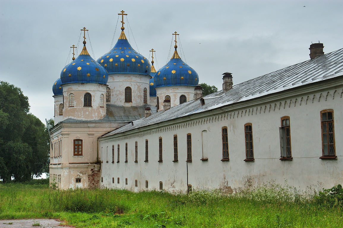 Krestovozdvizhensky Cathedral, view from entrance of Yuriev Monastery. Novgorod, Russia