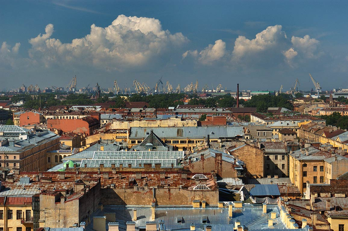 Sea Port from colonnade of St.Isaac Cathedral. St.Petersburg, Russia