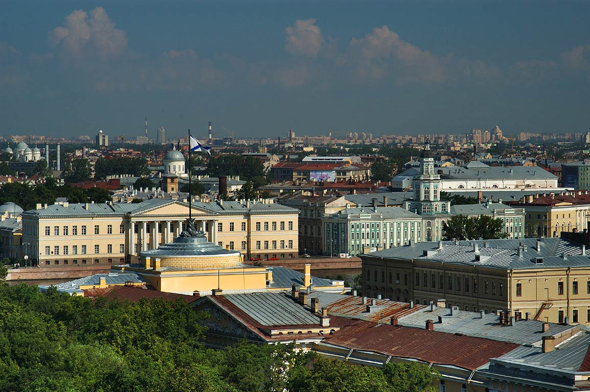 Admiralty and Kunstcamera museum from colonnade...Isaac Cathedral. St.Petersburg, Russia