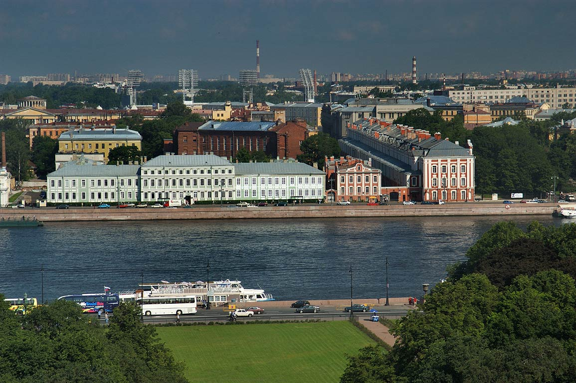 Neva River and University from colonnade of St.Isaac Cathedral. St.Petersburg, Russia